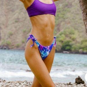 Fused Hawaii Purple Rain Aloha Swimsuit suit M NWT